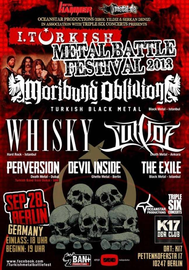 TURKISH METAL BATTLE FESTIVAL 2013 - WHISKY bestätigt, Line Up komplet